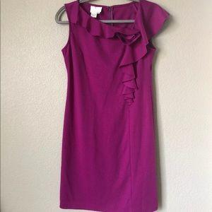 Donna Morgan 2 Purple Ruffle Detail Shift Dress